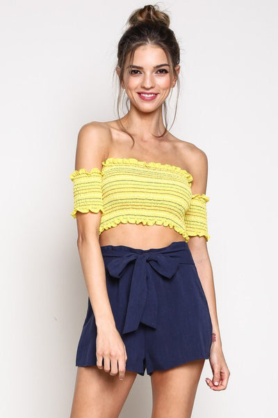 KRISTY OFF THE SHOULDER CROP TOP - Brinisity