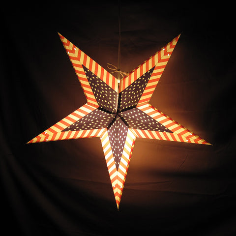 "24"" Americana Paper Star Lantern, Hanging Decoration, Hanging Ornaments"
