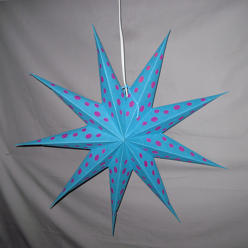 Aqua Blue Star Pink Polka Dots
