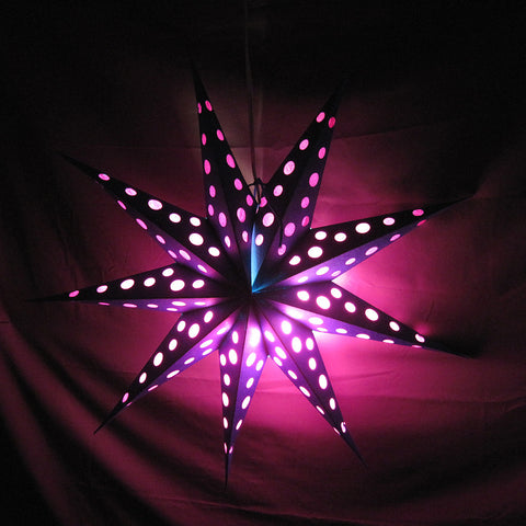 "24"" Teal with Pink Polka Dots Paper Star Lantern, Hanging Decoration, Hanging Ornaments"