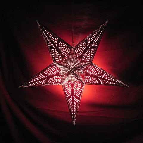 "24"" Black & Red Starfish Paper Star Lantern, Hanging Decoration, Hanging Ornaments"