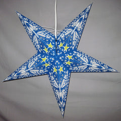 "24"" Blue with White Butterflies Paper Star Lantern, Hanging Decoration, Hanging Ornaments"