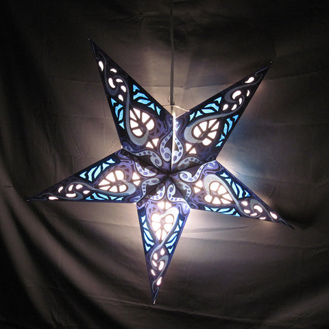 "24"" Blue Heart Paper Star Lantern, Hanging Decoration, Hanging Ornaments"