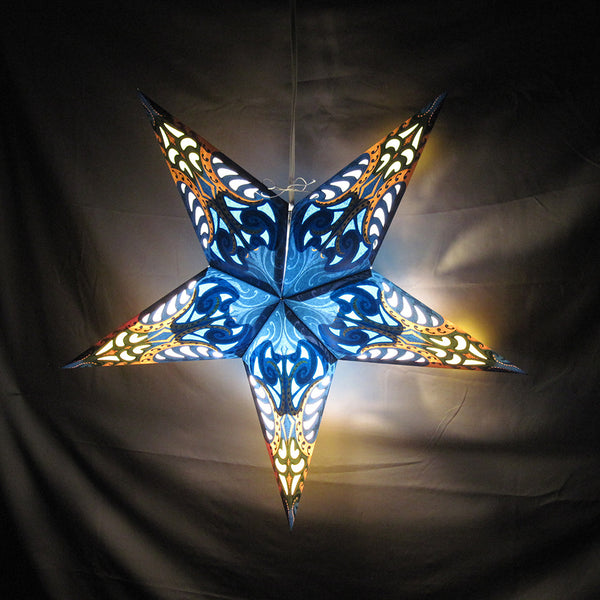 "24"" Blue Splash Paper Star Lantern, Hanging Decoration, Hanging Ornaments"