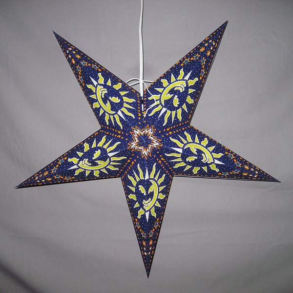 "24"" Blue Sun Paper Star Lantern, Hanging Decoration, Hanging Ornaments"