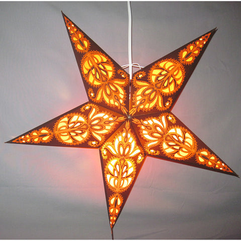 "24"" Brown Harvest Paper Star Lantern, Hanging Decoration, Hanging Ornaments"