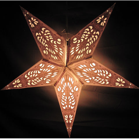 "24"" Gray Peacock Paper Star Lantern, Hanging Decoration, Hanging Ornaments"