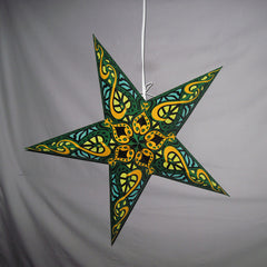 "24"" Green Heart Paper Star Lantern, Hanging Decoration, Hanging Ornaments"