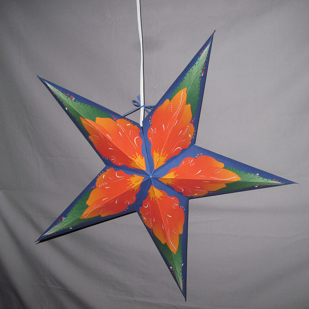 "24"" Hawaii Flower Paper Star Lantern, Hanging Decoration, Hanging Ornaments"