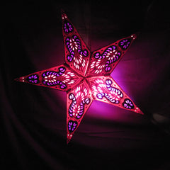 "24"" Peacock 2 Burgundy Paper Star Lantern, Hanging Decoration, Hanging Ornaments"