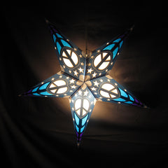 "24"" Penny's Peace  Blue Paper Star Lantern, Hanging Decoration, Hanging Ornaments"