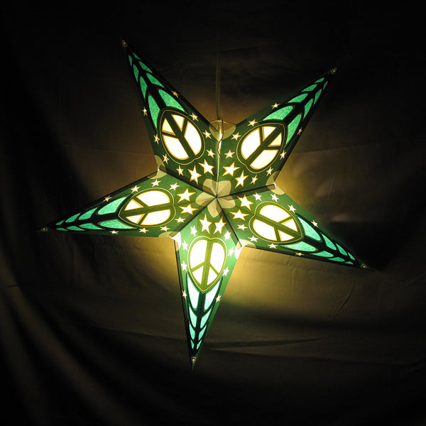 "24"" Penny's Green Peace Paper Star Lantern, Hanging Decoration, Hanging Ornaments"