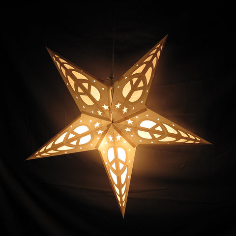 "24"" Penny's White Peace Paper Star Lantern, Hanging Decoration, Hanging Ornaments"