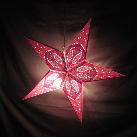 "24"" Pink Paisley Flower Paper Star Lantern, Hanging Decoration, Hanging Ornaments"