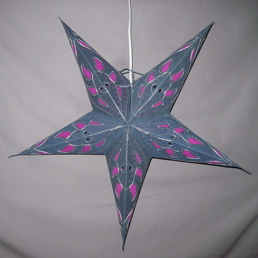 "26"" Pink Petal Embroidered Paper Star Lantern, Hanging Decoration, Hanging Ornaments"