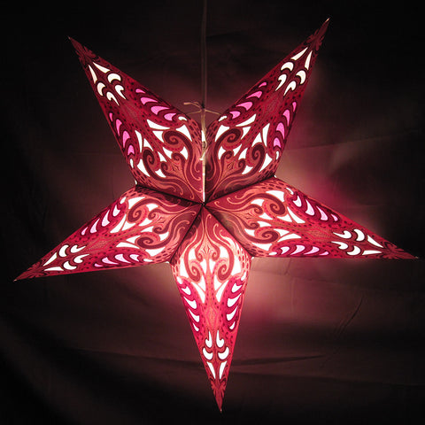 "24"" Pink Splash Paper Star Lantern, Hanging Decoration, Hanging Ornaments"