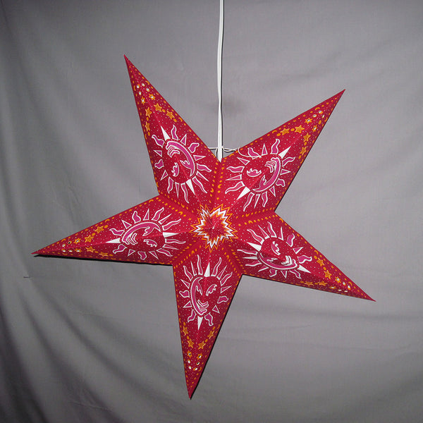 "24"" Pink Celestial Sun Paper Star Lantern, Hanging Decoration, Hanging Ornaments"