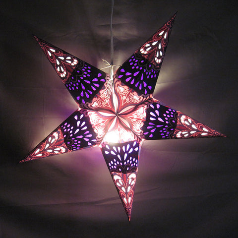 "24"" Purple Rain Paper Star Lantern, Hanging Decoration, Hanging Ornaments"