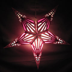 "24"" Purple Stained Glass Paper Star Lantern, Hanging Decoration, Hanging Ornaments"