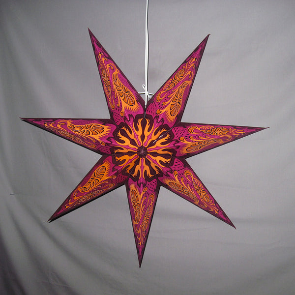 "24"" Wheel of Fire Paper Star Lantern, Hanging Decoration, Hanging Ornaments"