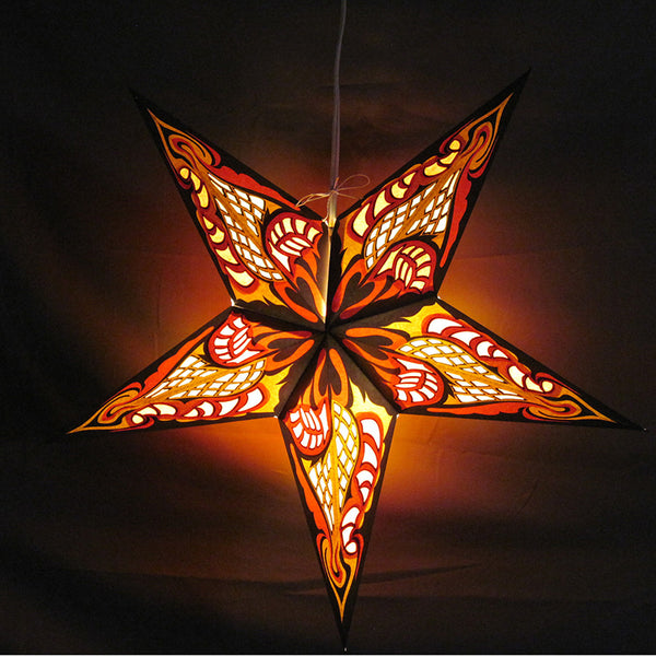 "24"" Yellow Racer Paper Star Lantern, Hanging Decoration, Hanging Ornaments"