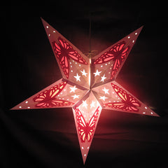 "24"" White with Red Butterfly Paper Star Lantern, Hanging Decoration, Hanging Ornaments"