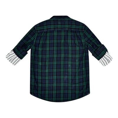 Ash Green Double Face Plaid Shirt-Shirts-DL1961-kids atelier