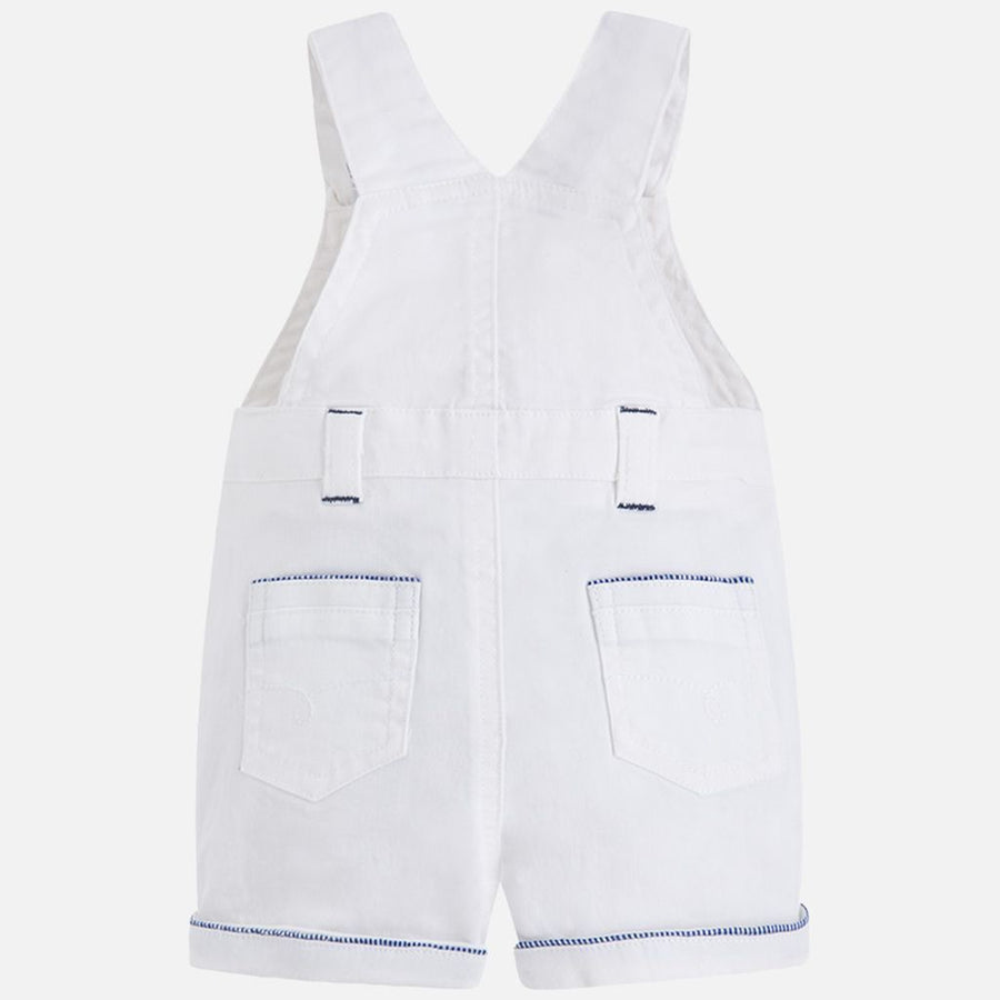 Mayoral White Short Stretchy Twill Overalls