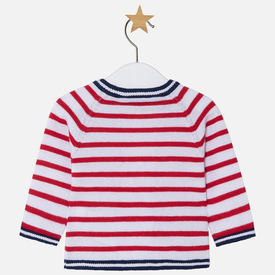 Mayoral Red Stripe Knitting Pullover Cardigan