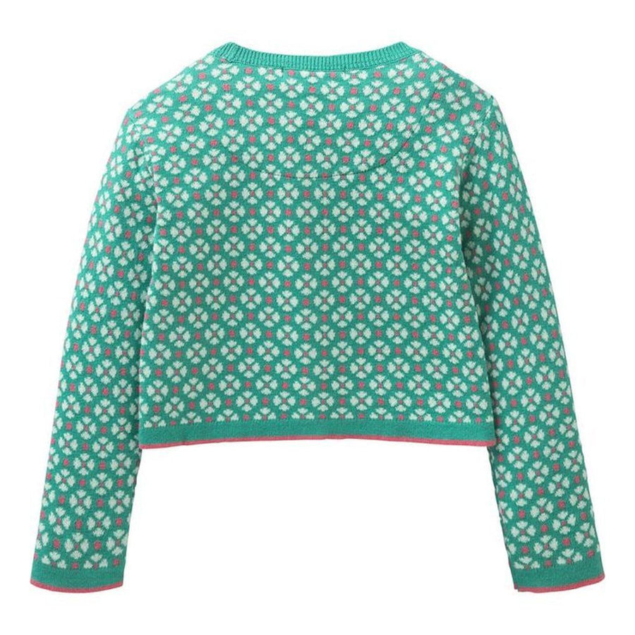Oilily Flower Turquoise Jacquard Graphic Kara knitted cardigan