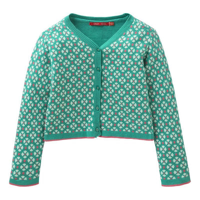 Oilily Flower Turquoise Kara Knitted Cardigan-Sweaters-Oilily-kids atelier