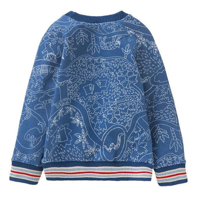 Oilily Blue Dino Hobbe Sweater-Sweaters-Oilily-kids atelier