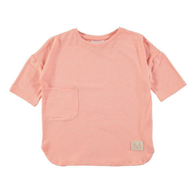 Molo Rana Fiery Coral Mini Stripe Tops-T-Shirt-Molo-kids atelier