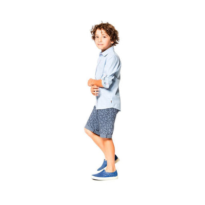 Deux Par Deux Pirates In The Zone Printed Navy Bermudas-Shorts-Deux Par Deux-kids atelier