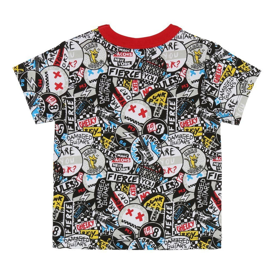 Little Marc Jacobs Gray Stickers T-shirt