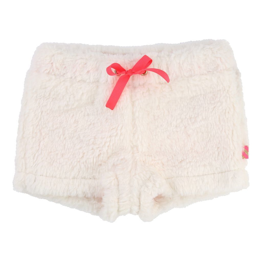 Billieblush White Faux Fur Shorts-Shorts-Billieblush-kids atelier