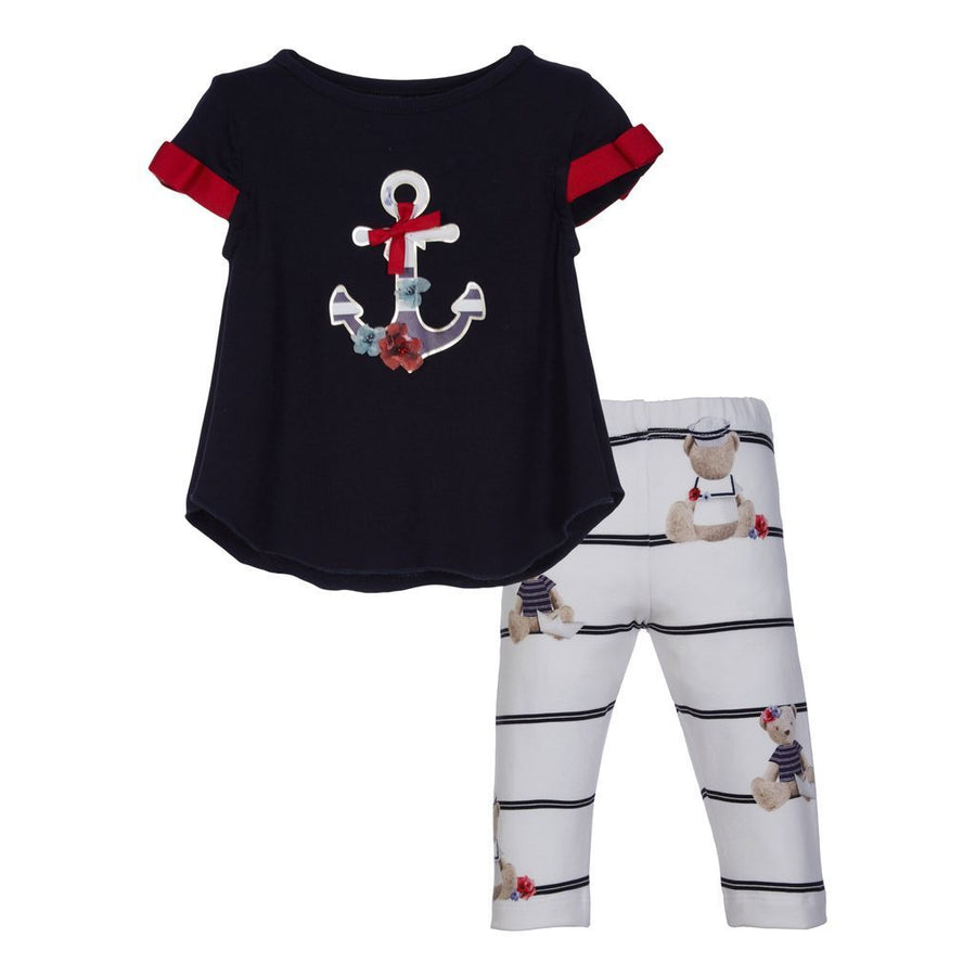 LAPIN HOUSE NAVY BLUE ANCHOR TOP & LEGGING SET