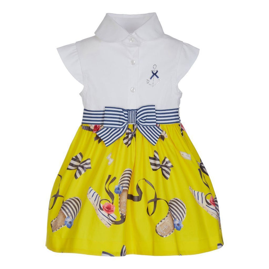 Lapin House White & Yellow Button Up Dress-Dresses-Lapin House-kids atelier