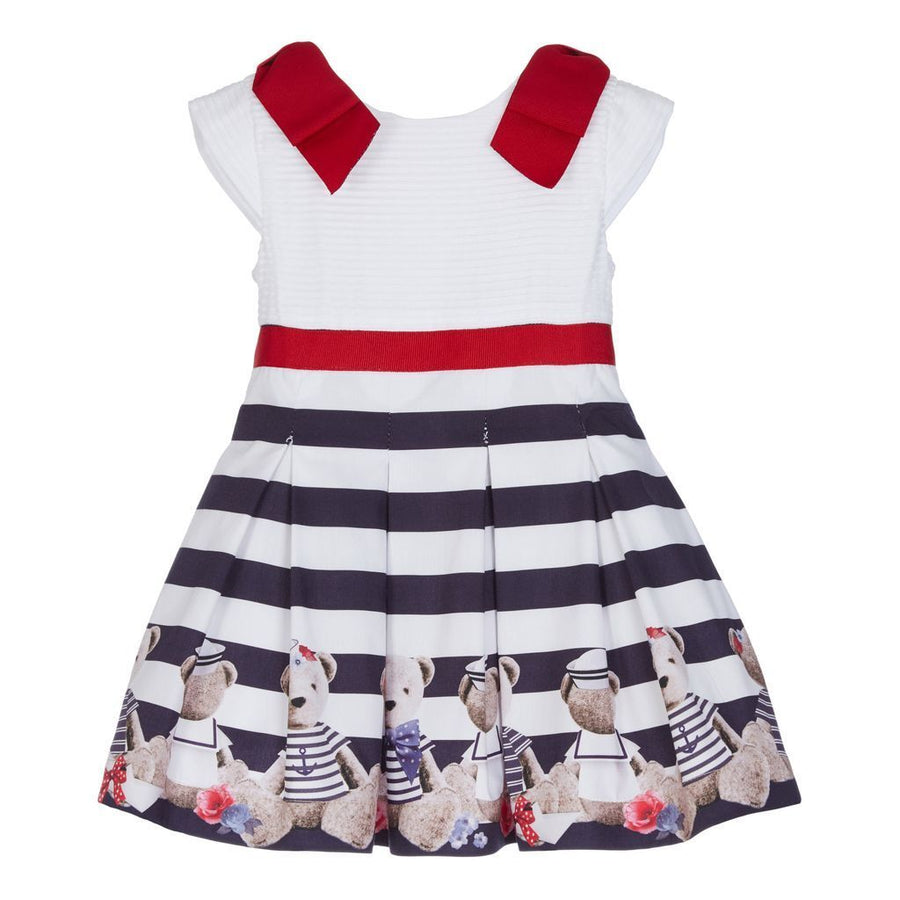 LAPIN HOUSE WHITE STRIPED BEAR DRESS