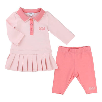 BOSS-SET DRESS+LEGGINGS-J98157-44L PINK PALE-Default-BOSS-kids atelier