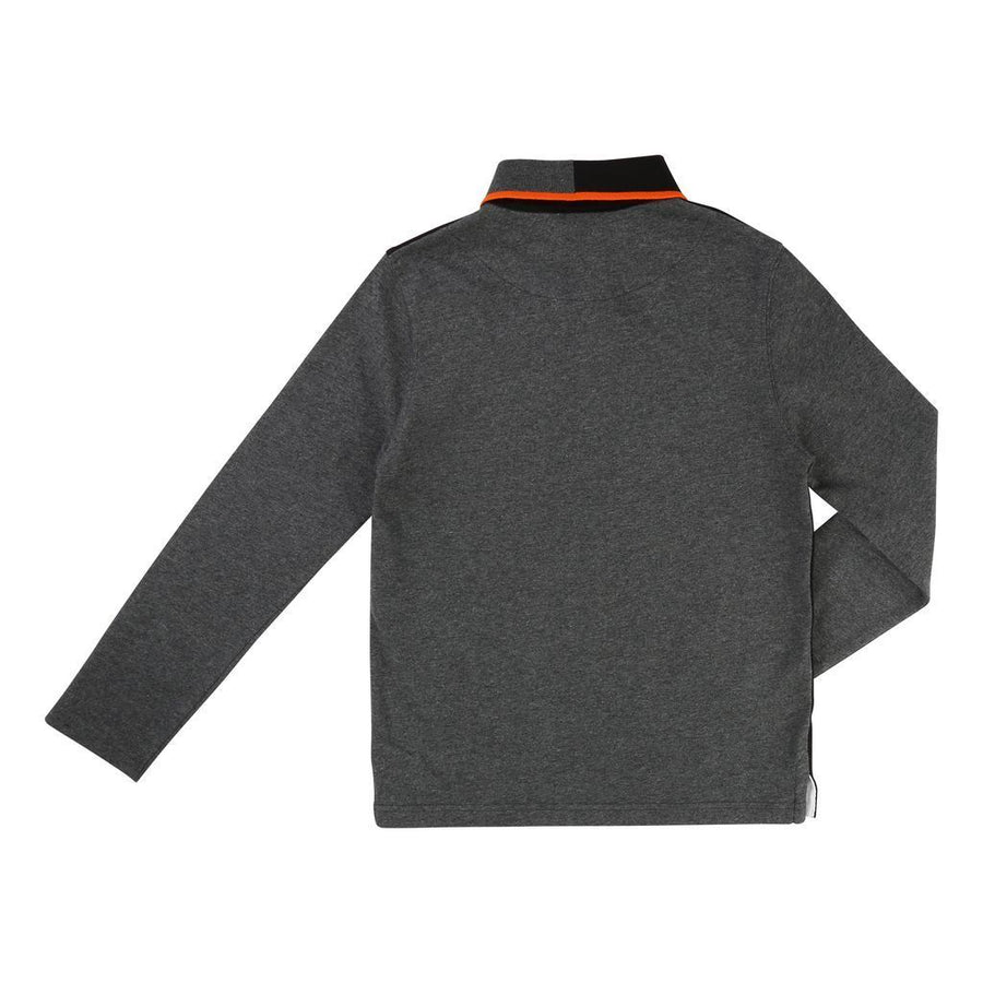 BOSS-LONG SLEEVE POLO-J25994-M60 BLACK/GREY