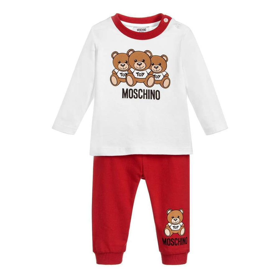 Moschino Red Teddy Bear Logo T-Shirt & Pants Set-Outfits-Moschino-kids atelier