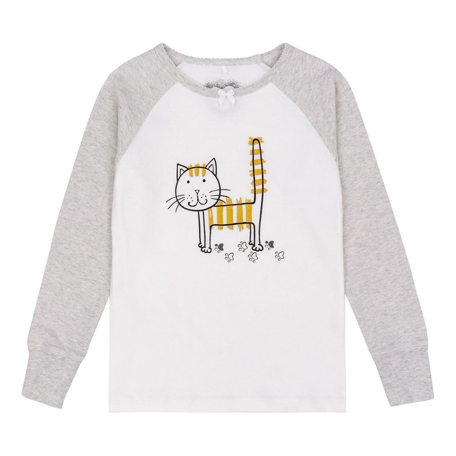 Deux Par Deux Light Gray Cat Pajamas
