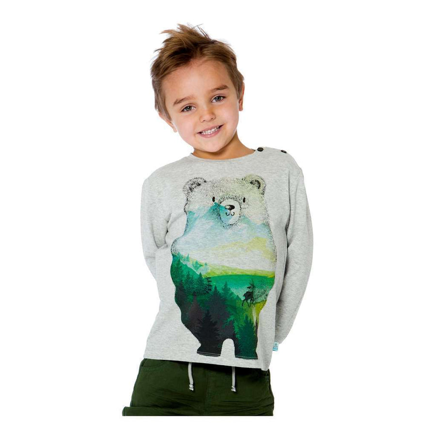 Deux Par Deux Heather Gray Bear T-shirt-T-Shirt-Deux Par Deux-kids atelier