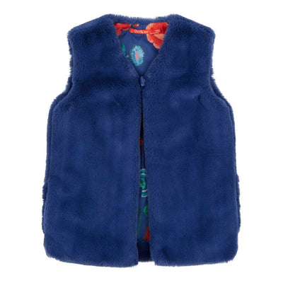 OILILY-Caddy bodywarmer 59 fake fur blue & painted embroidery flower-YF18GCO208-59-Default-Oilily-kids atelier