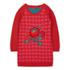 OILILY-Korazon knitted dress 24 pink red with flower embroidery-YF18GDR272-24-Default-Oilily-kids atelier