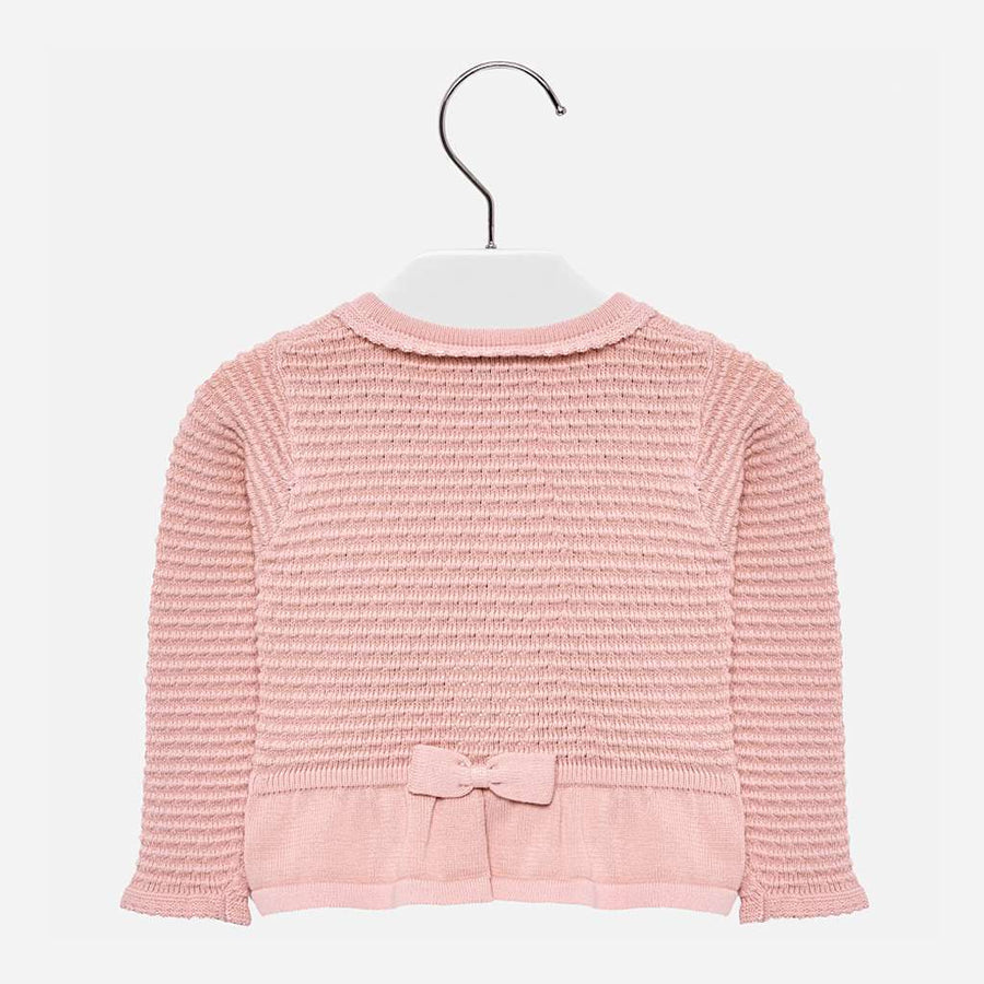Mayoral Pink Bow Knit Cardigan-Cardigans-Mayoral-kids atelier