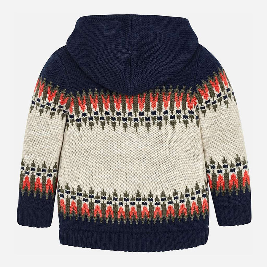 Mayoral Navy Jacquard Knit Zip Cardigan-Outerwear-Mayoral-kids atelier