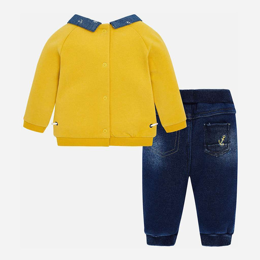 Mayoral Yellow Bear Denim Trousers Set-Outfits-Mayoral-kids atelier