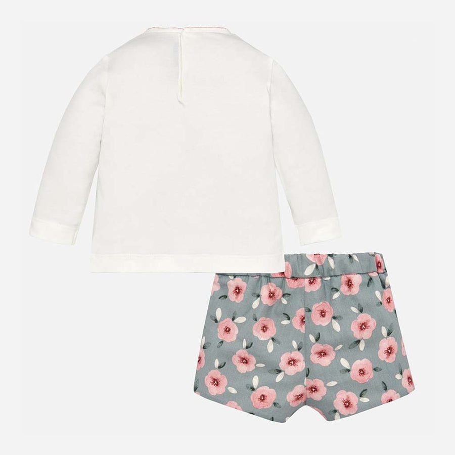Mayoral Pink/Gray Flower Short Set-Outfits-Mayoral-kids atelier